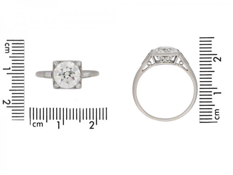 size view Art Deco diamond ring, circa 1930. berganza hatton garden
