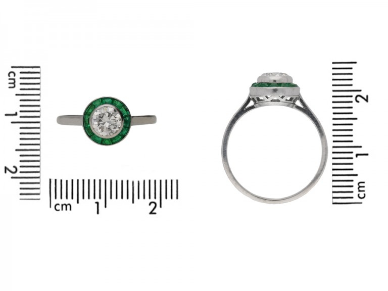 size view Diamond and emerald target ring, French, circa 1950. berganza hatton garden