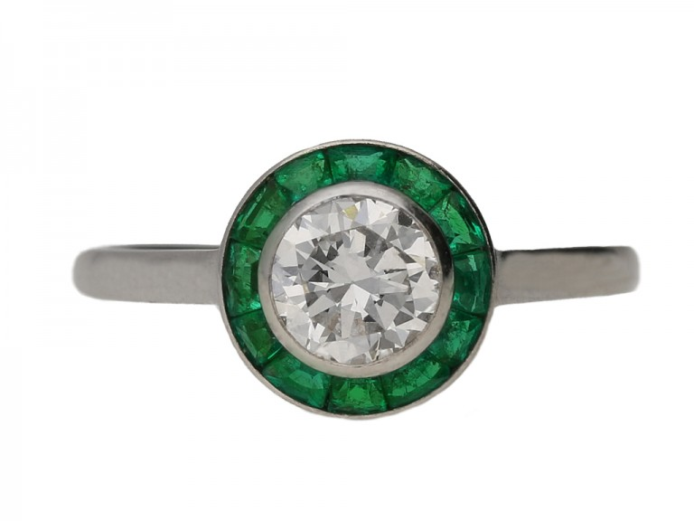 front view Diamond and emerald target ring, French, circa 1950. berganza hatton garden