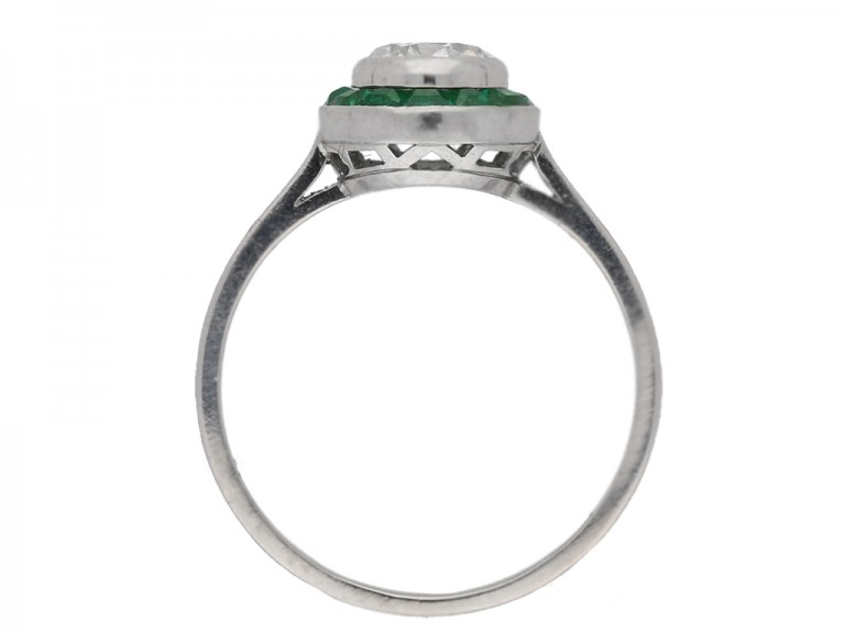back view Diamond and emerald target ring, French, circa 1950. berganza hatton garden