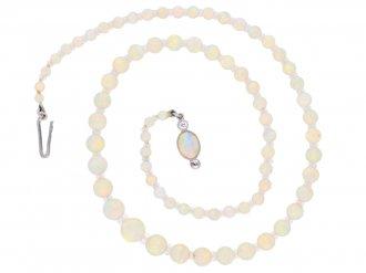 front view Opal bead necklace, circa 1910. berganza hatton garden