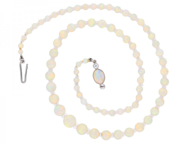 Opal bead necklace, circa 1910. berganza hatton garden