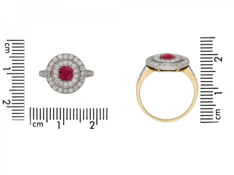 size view Ruby and diamond two row cluster ring, circa 1905. berganza hatton garden