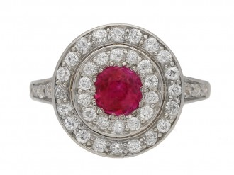 front view Ruby and diamond two row cluster ring, circa 1905. berganza hatton garden