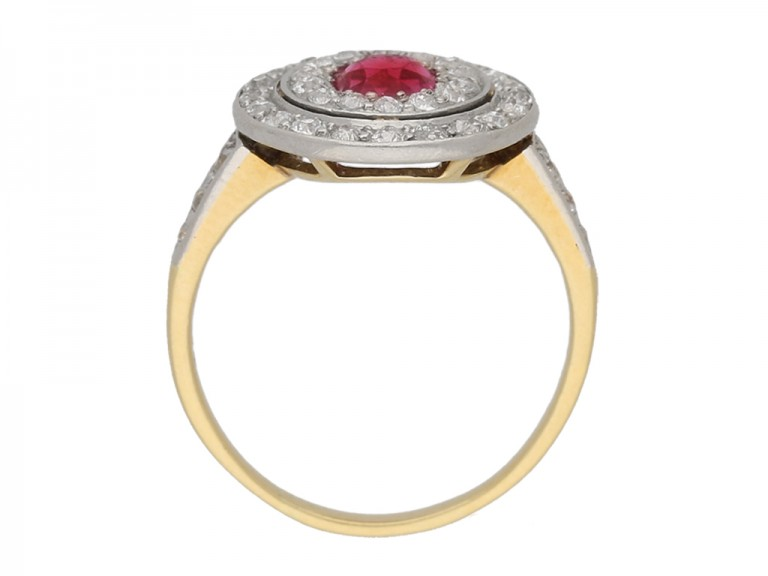back view Ruby and diamond two row cluster ring, circa 1905. berganza hatton garden