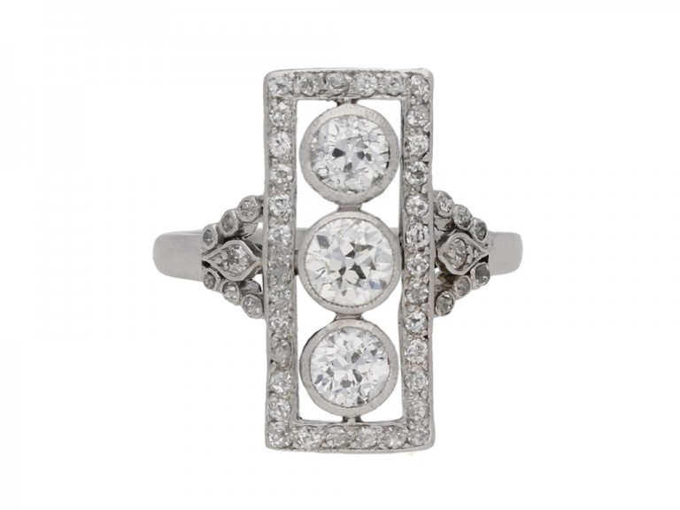 front view Edwardian diamond ring, circa 1905. berganza hatton garden