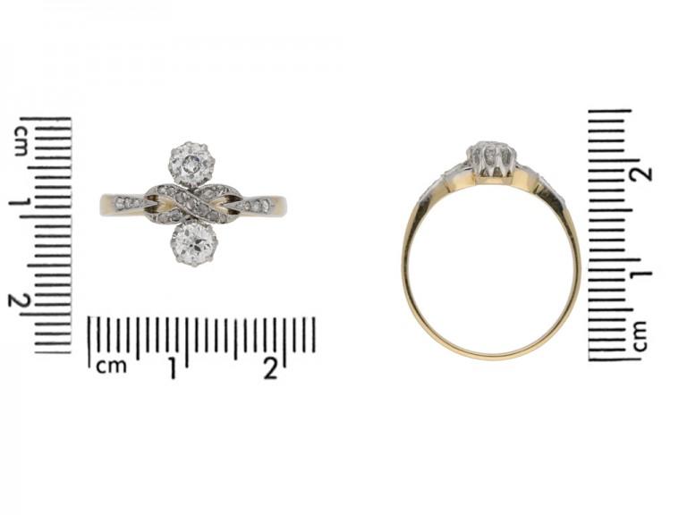 size view Ornate two stone diamond ring, circa 1905. berganza hatton garden