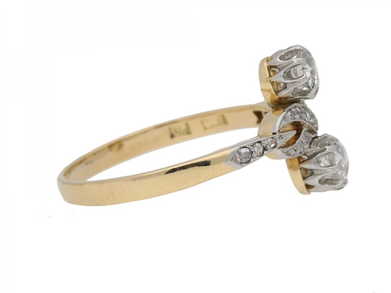 side view Ornate two stone diamond ring, circa 1905. berganza hatton garden