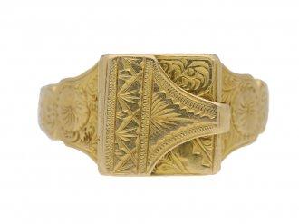 front view Gold locket ring, English, circa 1917. berganza hatton garden