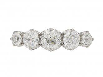 front view Edwardian five stone diamond ring, English, circa 1905. berganza hatton garden