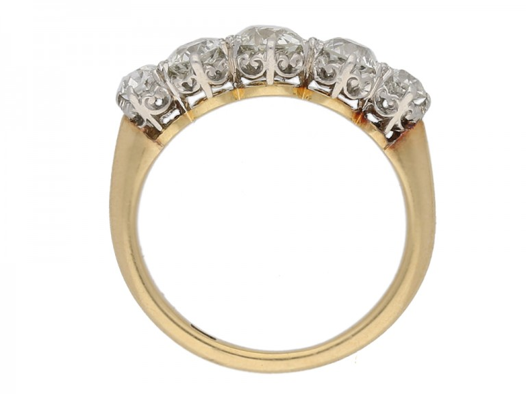 Edwardian five stone diamond ring, English, circa 1905. berganza hatton garden