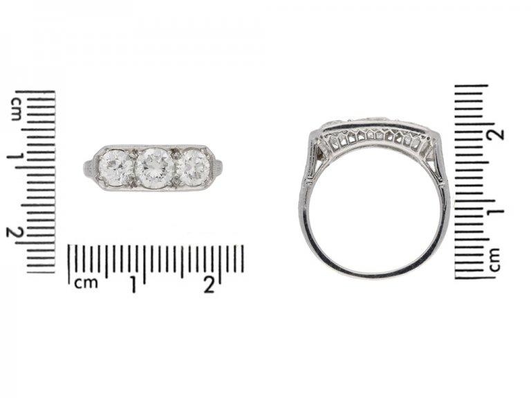 size view Three stone diamond ring, circa 1930. hatton garden berganza