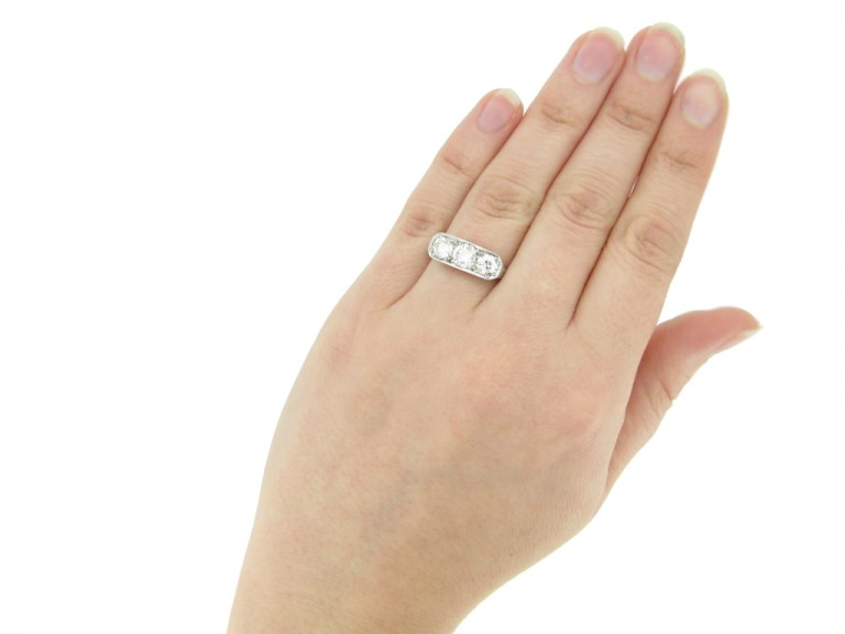 hand view Three stone diamond ring, circa 1930. hatton garden berganza