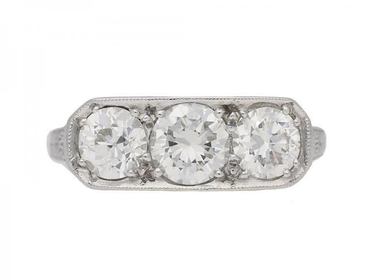 front view Three stone diamond ring, circa 1930. hatton garden berganza