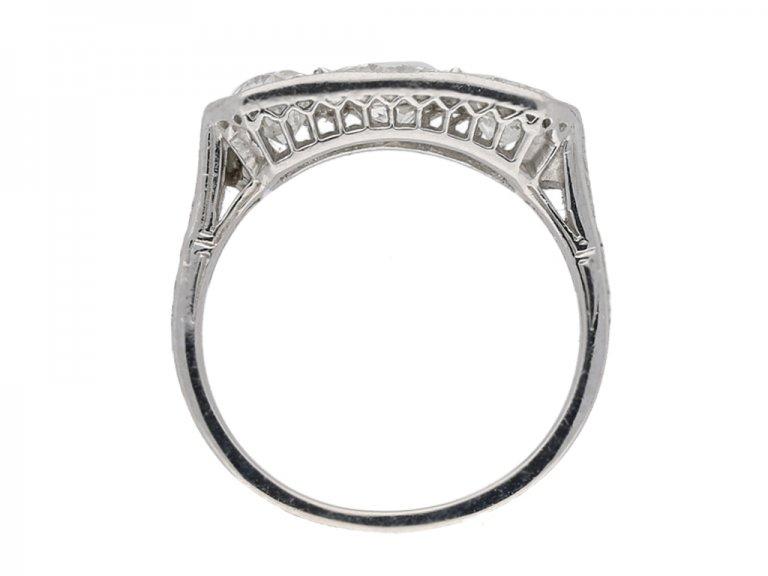 back view Three stone diamond ring, circa 1930. hatton garden berganza
