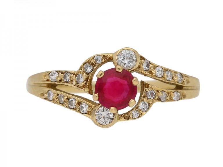 front view Ruby and diamond ring,French circa 1970 berganza hatton garden