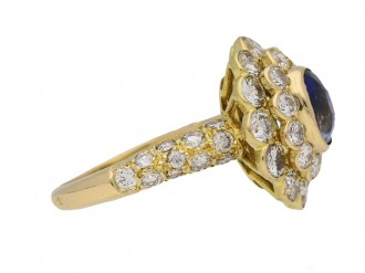 front veiw Vintage sapphire diamond ring Mauboussin berganza hatton garden