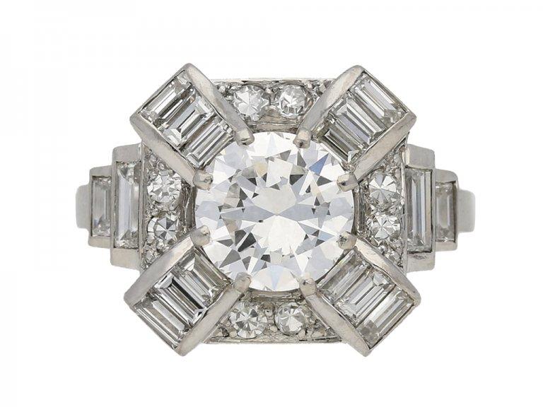 front view Art Deco diamond cluster ring, French, circa 1935. berganza hatton garden