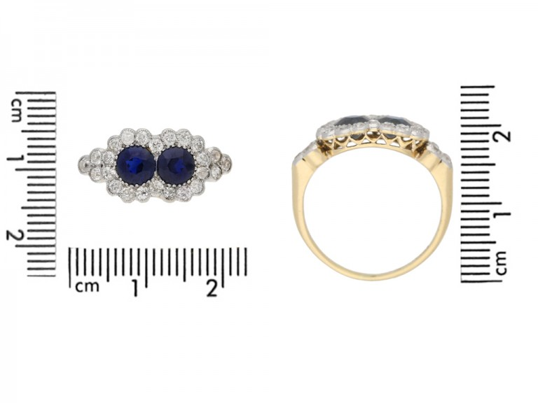 Edwardian sapphire and diamond double cluster ring, circa 1905. berganza hatton garden