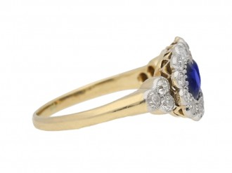 front view Edwardian sapphire and diamond double cluster ring, circa 1905. berganza hatton garden