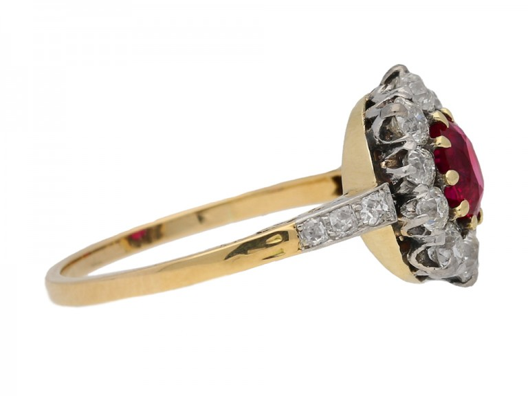 Antique Burmese ruby and diamond coronet cluster ring, circa 1905. berganza hatton garden