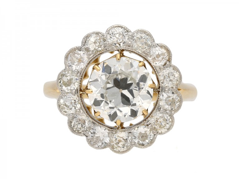front antique cluster diamond ring hatton garden berganza