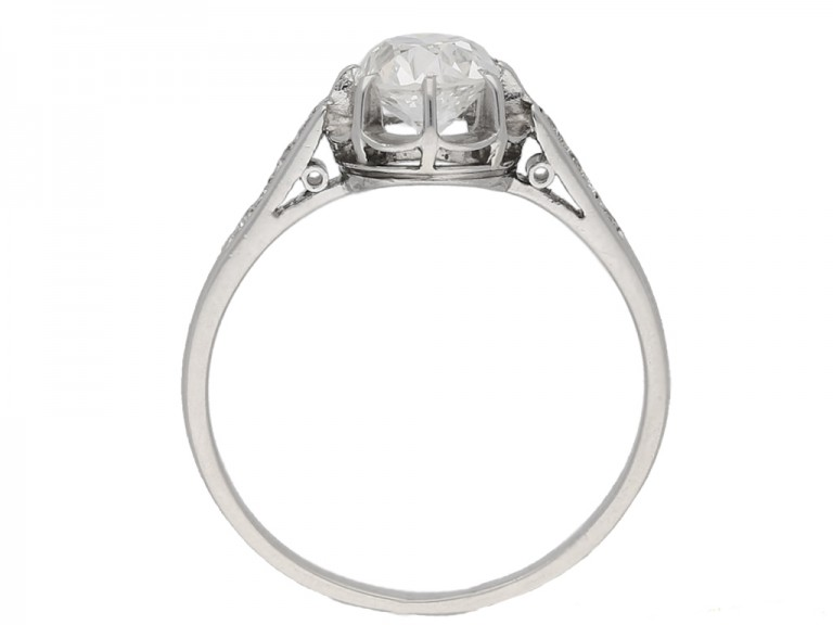 back view Diamond engagement ring, French, circa 1920. berganza hatton garden