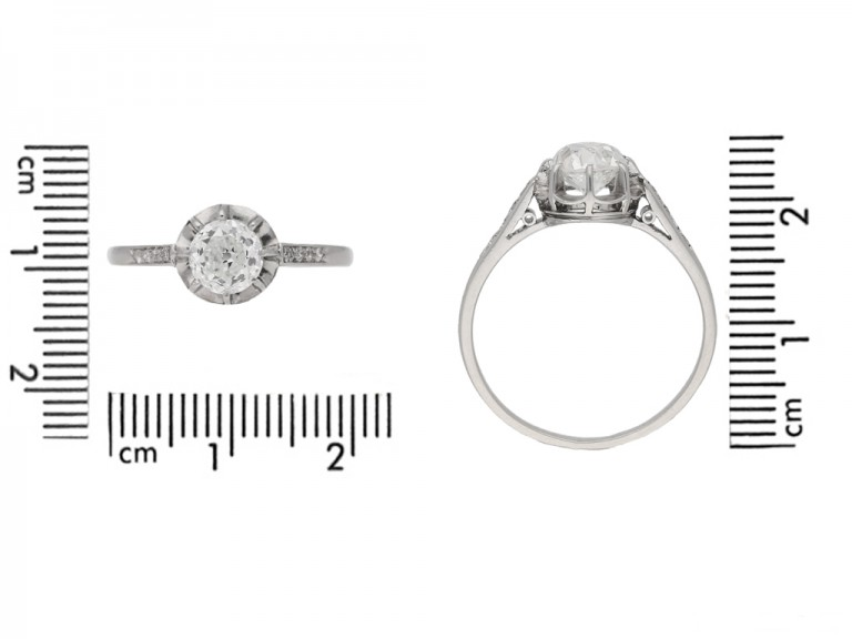 size view Diamond engagement ring, French, circa 1920. berganza hatton garden