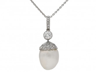 Antique natural pearl and diamond pendant, circa 1905. berganza hatton garden
