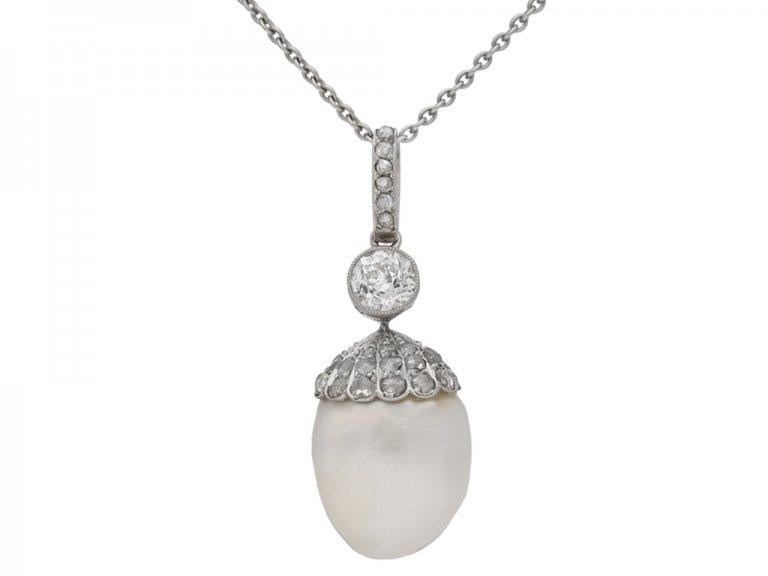 Antique natural pearl and diamond pendant, circa 1905. berganza hatton garden