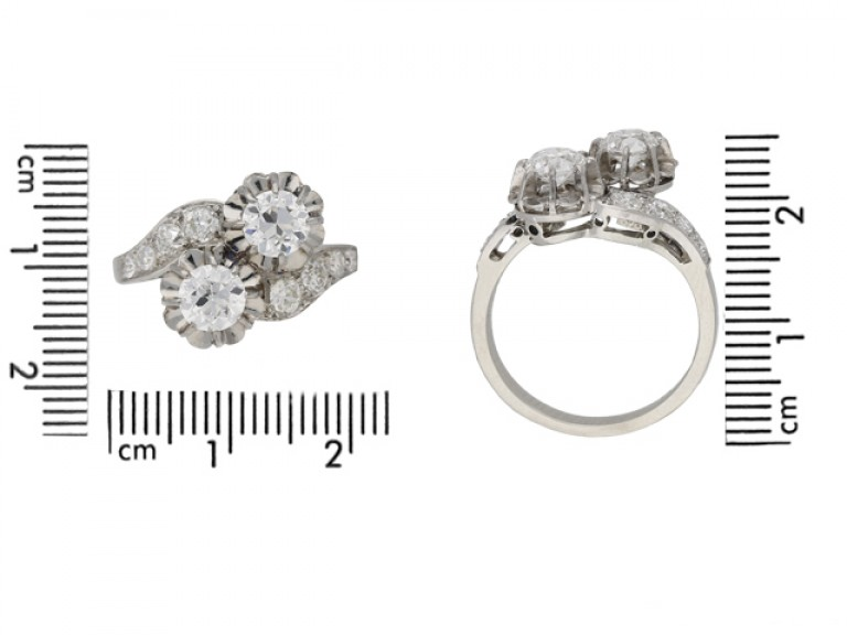 size view Two stone diamond cross over ring, English, circa 1950. berganza hatton garden