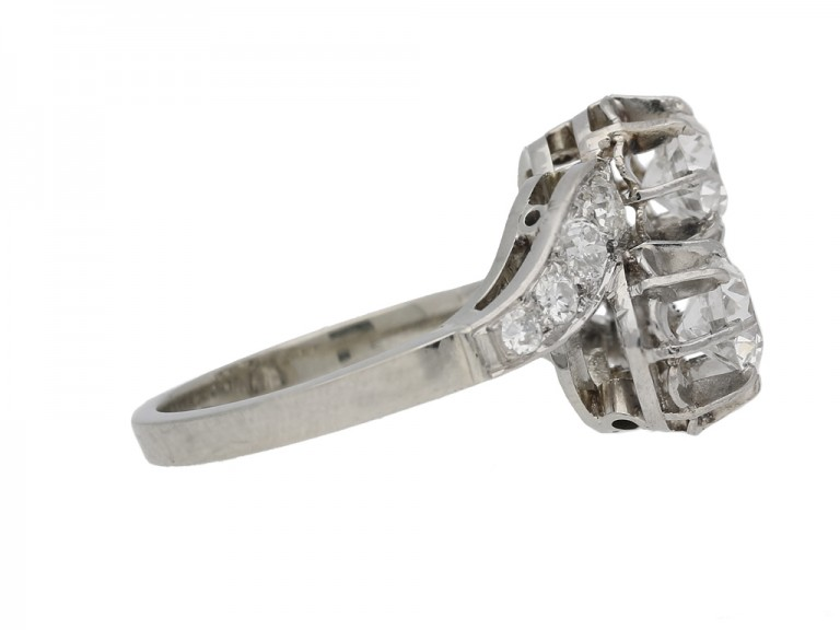 side view Two stone diamond cross over ring, English, circa 1950. berganza hatton garden