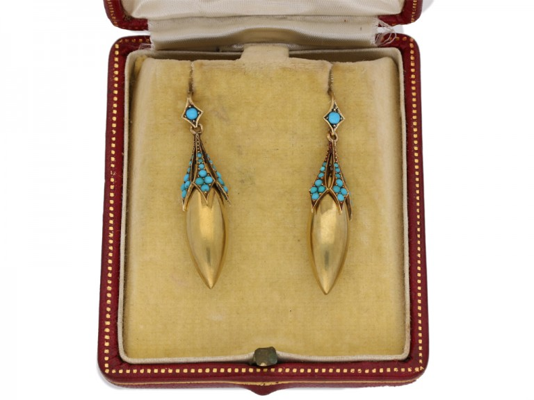 Antique turquoise drop earrings, circa 1870. berganza hatton garden