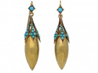 front view Antique turquoise drop earrings, circa 1870. berganza hatton garden