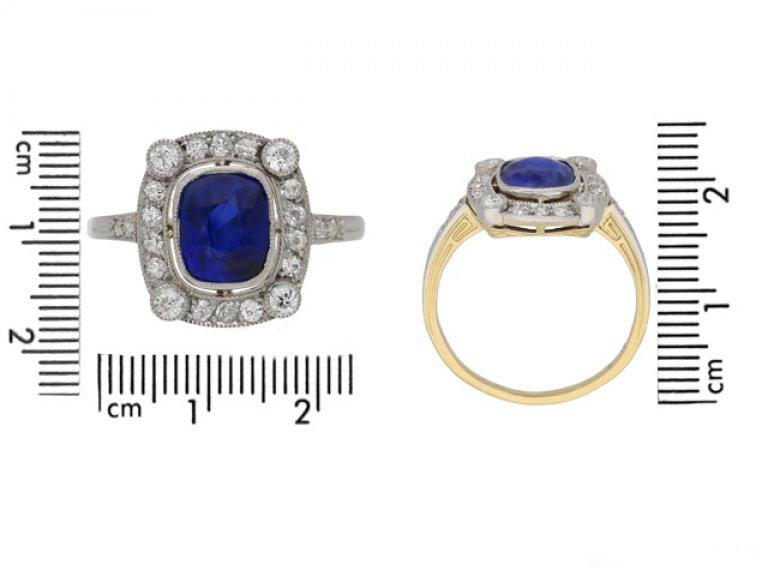 size view Burmese sapphire and diamond cluster ring, circa 1905. berganza hatton garden