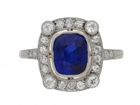 front view Burmese sapphire and diamond cluster ring, circa 1905. berganza hatton garden