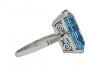 Art Deco solitaire aquamarine ring, circa 1935. berganza hatton garden
