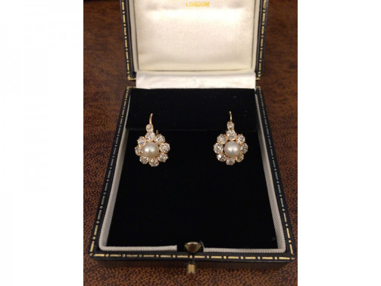 Antique natural pearl and diamond earrings, circa 1890 berganza hatton garden