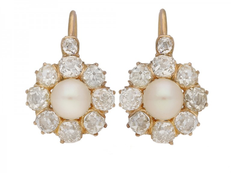 front view Antique natural pearl and diamond earrings, circa 1890 berganza hatton garden
