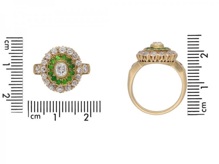Antique diamond and demantoid garnet cluster ring, circa 1900. hatton garden berganza