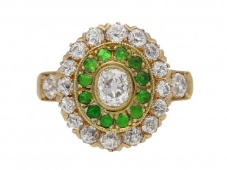 front view Antique diamond and demantoid garnet cluster ring, circa 1900. hatton garden berganza
