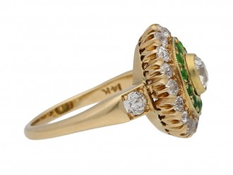 Antique diamond and demantoid garnet cluster ring, circa 1900. hatton garden berganza