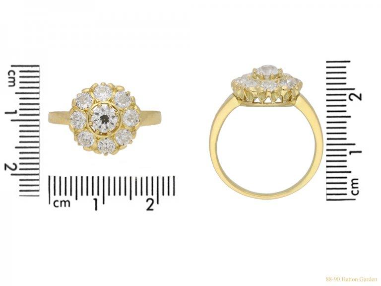 size view Diamond coronet cluster ring circa 1915 berganza hatton garden