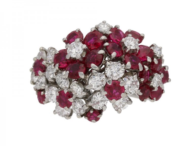 front view Ruby and diamond ring by J.E.Caldwell & Co, circa 1950. berganza hatton garden