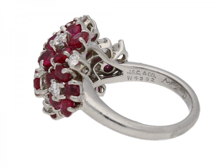 Ruby and diamond ring by J.E.Caldwell & Co, circa 1950. berganza hatton garden