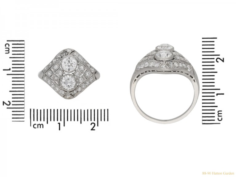 size view Two stone diamond cluster ring, circa 1920. berganza hatton garden