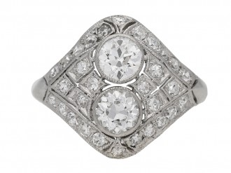 front view Two stone diamond cluster ring, circa 1920. berganza hatton garden