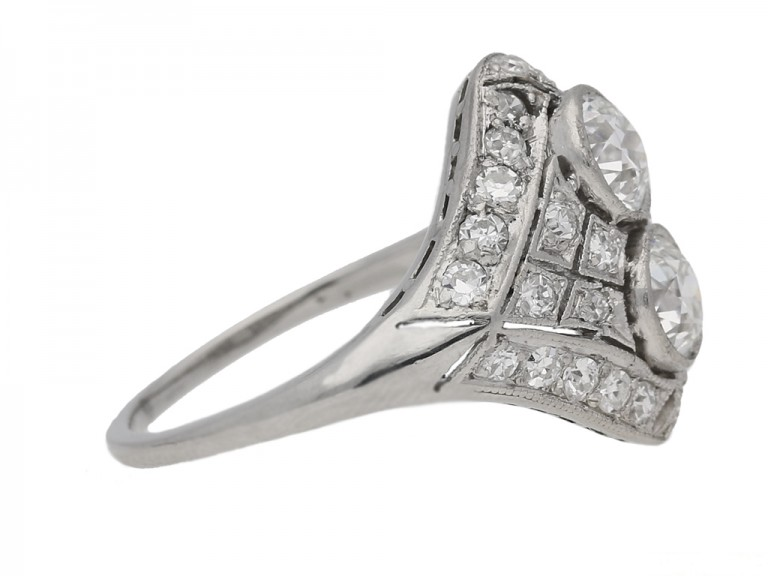 side view Two stone diamond cluster ring, circa 1920. berganza hatton garden