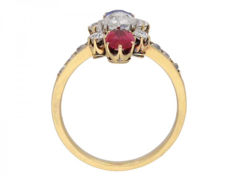 back view Art Nouveau ruby ,sapphire and diamond ring French circa 1895 berganza hatton garden