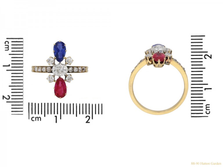 size view Art Nouveau ruby ,sapphire and diamond ring French circa 1895 berganza hatton garden